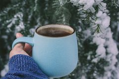 Eine Hand in einer warmen Strickjacke, die blaue Becherschale mit heißem Tee, Kaffee, Schokolade auf dem Hintergrund eines schnee stockbild