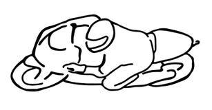 Eine Hand gezeichnete Skizze des Sportmotorradfahrers Stockfoto