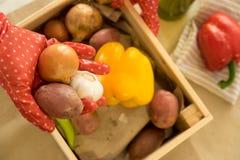 Eine Hand im roten Gartenhandschuh, der Zwiebel, Knoblauch und Kartoffel mit anderem Gemüse in unscharfem Hintergrund hält lizenzfreie stockfotos