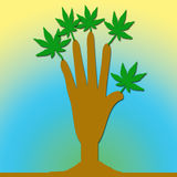 Eine Hand mit Blättern lizenzfreie abbildung