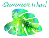 Eine helle Neonskizze eines tropischen Blattes Stilvolle Idee für eine Tätowierung Exotische Vegetation lizenzfreie abbildung