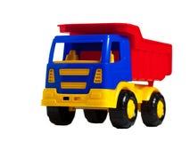 Eine helle Plastikspielzeuglastwagenabschlussansicht Lizenzfreies Stockbild