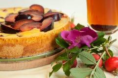 Eine helle Zusammensetzung mit einer Fruchttorte, einer Glastasse tee, einem frischen Hund rosafarben und Hüften Stockbilder