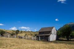 Eine hintere Ansicht einer patagonian Hütte Lizenzfreies Stockbild