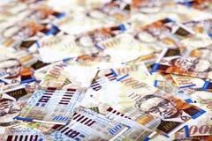 Hundert Schekel-Rechnungs-unordentlicher Hintergrund Stockbild