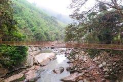 Eine Holzbrücke über einem Strom in Sapa, Vietnam Stockbild