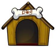 Eine Hundehütte mit einem Knochen Stockbild
