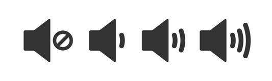 Eine Ikone, die den Ton erhöht und verringert Ikone, die den Stummen zeigt Ein Satz solide Ikonen mit verschiedenen Signalpegeln  stock abbildung