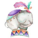 Eine Illustration eines Zirkuselefanten gemalt im Aquarell auf einem weißen Hintergrund Stockbilder