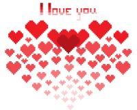 Eine Illustration in Form von pixelated Herzen mit der Aufschrift ich liebe dich und smiley lizenzfreie abbildung