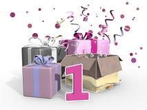 Eine Illustration von Geschenken für den ersten Geburtstag eines Mädchens Stockbild