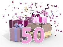 Eine Illustration von Geschenken für eine Frau, die ihren 50. Geburtstag feiert Stockfotos
