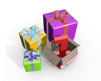 Eine Illustration von Geschenken für ersten Platz Lizenzfreies Stockbild