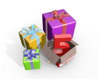 Eine Illustration von Geschenken für fünften Geburtstag Stockfotos