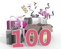 Eine Illustration von Geschenken mit Nr. 100 Stockbild