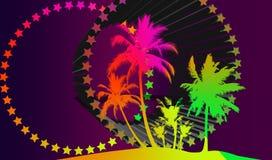 Eine Illustration von Palmen, von Sternen und von geometrischen Formen, die für alles verwendet werden können Stockbilder