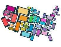 Eine Illustration von SmartPhones alle über den USA Stockbilder