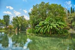 Eine Insel mitten in einem kleinen Fluss Grüne kleine Insel stockfoto