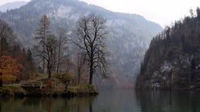 Eine Insel mitten in einem See überwältigt mit Bäumen stock video