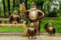 Eine interessante Skulptur an Platz-DES-Künsten in im Stadtzentrum gelegenem Sochi Lizenzfreie Stockfotos