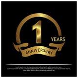 Eine Jahre Jahrestag golden Jahrestagsschablonenentwurf für Netz, Spiel, kreatives Plakat, Broschüre, Broschüre, Flieger, Zeitsch lizenzfreie abbildung