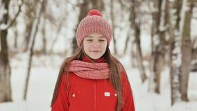Eine Jugendliche mit Sommersprossen auf ihrem Gesicht lächelt glücklich in die Kamera Ein Hintergrund einer Winterwaldlandschaft stock video