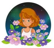 Eine junge Dame am Garten Stockfotografie