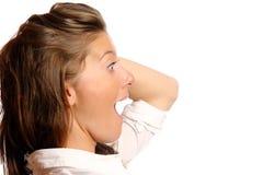 Eine junge entsetzte Frau Stockfotos