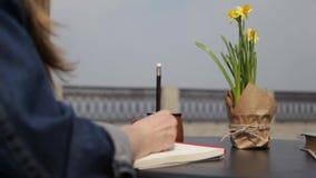 Eine junge Frau, angespornt durch eine gute Idee, notiert Gedanken in einem Notizbuch und sitzt in einem Café, welches das Meer ü stock footage