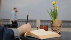 Eine junge Frau hebt den Bleistifttext in einem Buch hervor, das an einem Tisch in einem Café sitzt, welches das Meer übersieht stock video