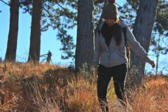 Eine junge Frau macht Trekking auf einem Berg stockbild