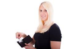 Eine junge Frau mit Kreditkarte Lizenzfreies Stockfoto