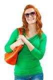 Eine junge Frau mit Tasche Lizenzfreies Stockbild