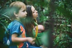 Eine junge Mutter mit einem Baby in einem Riemen und in einem kleinen Jungen geht in den Dschungel stockfotos