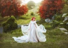 Eine junge, rothaarige Elfe, die einen Regenmantel gegen den Hintergrund von Herbsthügeln und von Weg, der, wellenartig bewegt in Stockfoto