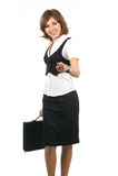Eine junge und glückliche Geschäftsfrau in der formalen Kleidung Stockfoto