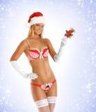 Eine junge und sexy blonde Frau in der Weihnachtswäsche Stockfotos