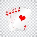 Eine königliche Spielkarte-Schürhakenhand des geraden Errötens in den Herzen lizenzfreie abbildung