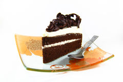 Eine köstliche Scheibe des schwarzen Forrest Kuchens Stockfotografie