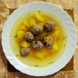 Eine köstliche Suppe mit Fleischklöschen Lizenzfreie Stockfotografie