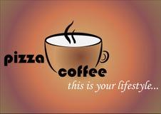 Eine Kaffeetasse mit den Wörtern Pizza und Kaffee Werbungslogo für ein Kaffeehaus und eine Pizzeria vektor abbildung