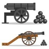 Eine Kanone, eine Retro- Kanone, eine Militärkanone stock abbildung