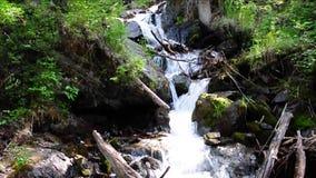 Eine Kaskade von kleinen Wasserfällen auf dem Fluss Boci, fließend von den Bergen stock video footage