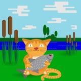 Eine Katze mit einem großen Fisch in einer flachen Art stock abbildung