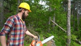 Eine Kettensägenarbeitskraft läuft das Holz durch stock video footage