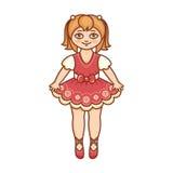 Eine kleine Ballerina in einem schönen Kleid Stockbild