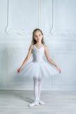 Eine kleine entzückende junge Ballerina, die auf Kamera im inte isposing ist Lizenzfreie Stockfotos