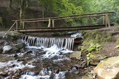 Eine kleine Holzbrücke über einem Strom unter Dickichten zwischen den Hügeln der Karpatenberge Stockbild