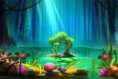 Eine kleine Insel mitten in dem See innerhalb des tiefen Waldes lizenzfreie abbildung