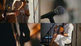 4 in 1: Eine kleine musikalische Band, die im Studio spielt Junge Frau, die Gitarre spielt stock video